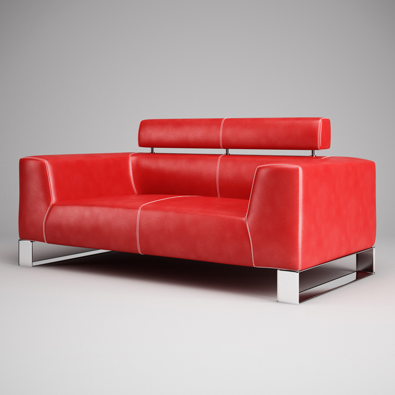 Red Leather Sofa 01 Cgaxis Models