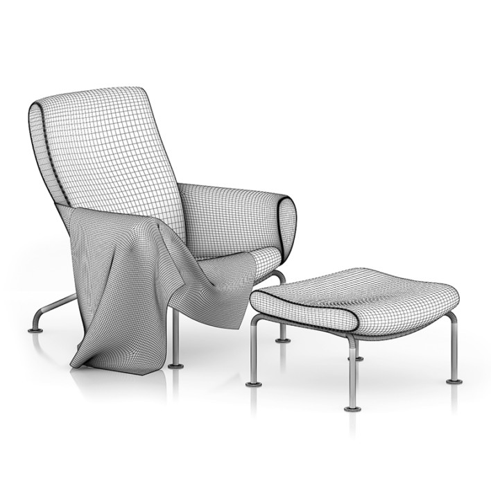 Grey Lounge Chair with Footrest