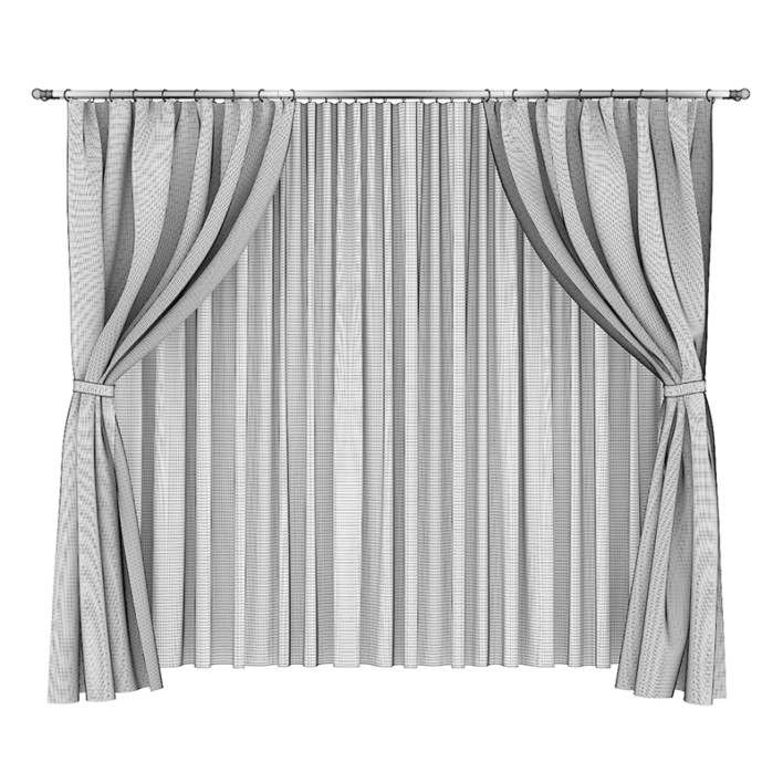 Brown and White Curtains