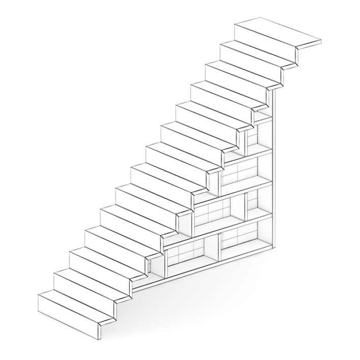 Wooden Stairs with Bookshelf