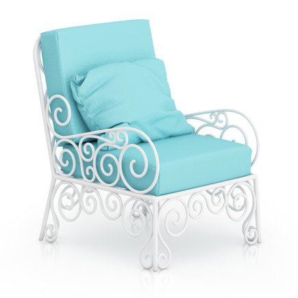 White Armchair with Cyan Pillow