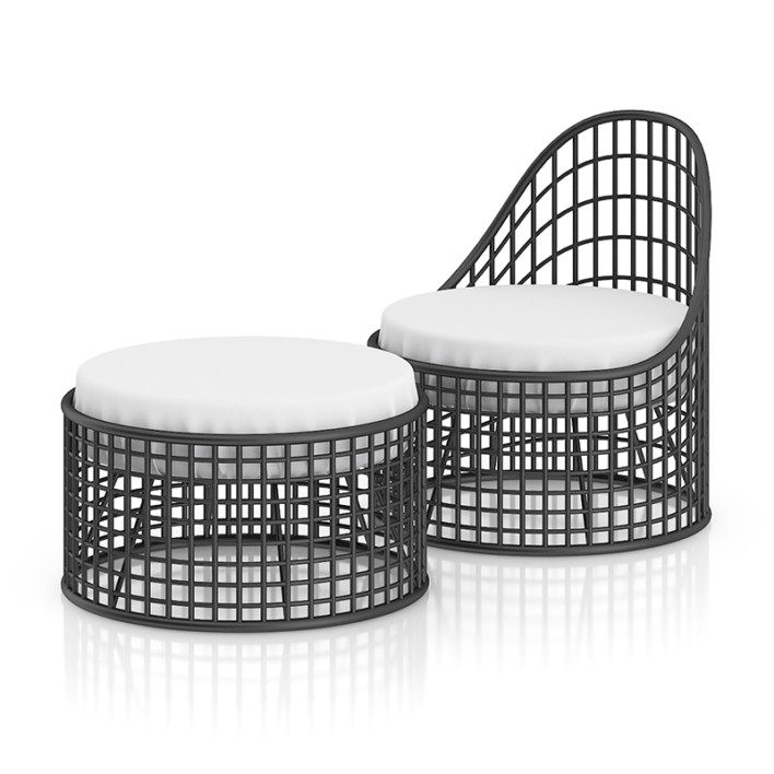 Wire Chair with Footrest