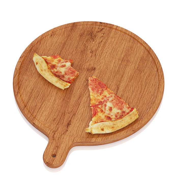 Pizza slices on wooden board