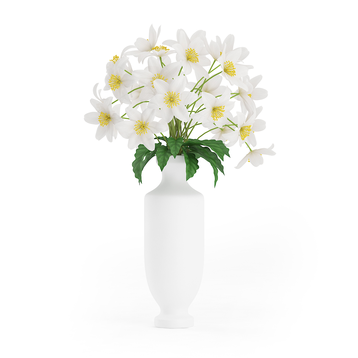 White Flowers In Tall Vase Cgaxis 3d Models Store