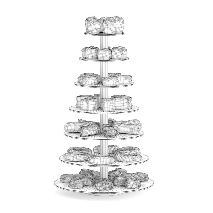 3d Glass Stand with Sweatrolls and Cakes