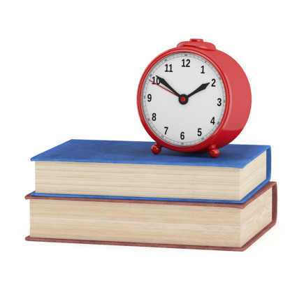 3d Clock and Two Books