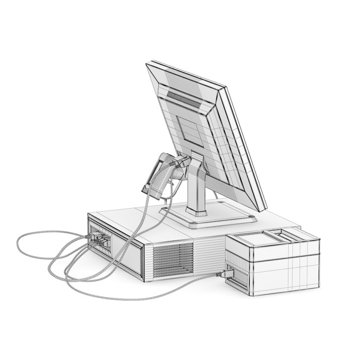 Cash Register with Scanner and Printer