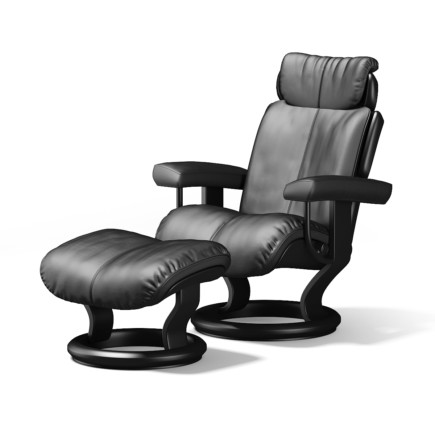 Black Leather Chair with Footrest