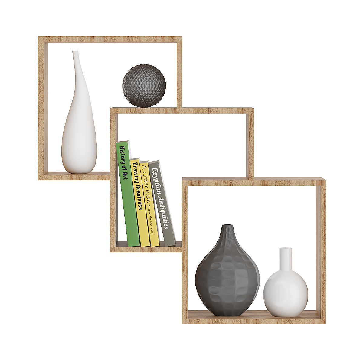 Wooden Wall Shelf With Books And Vases Cgaxis 3d Models Store