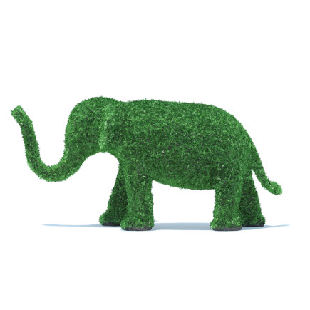 Elephant Shaped Hedge 3D Model