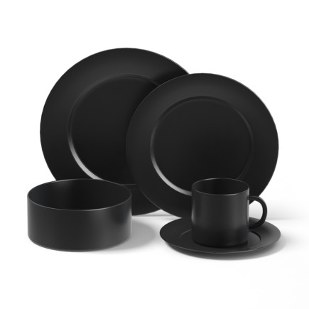 Black Dishes Set 3D Model
