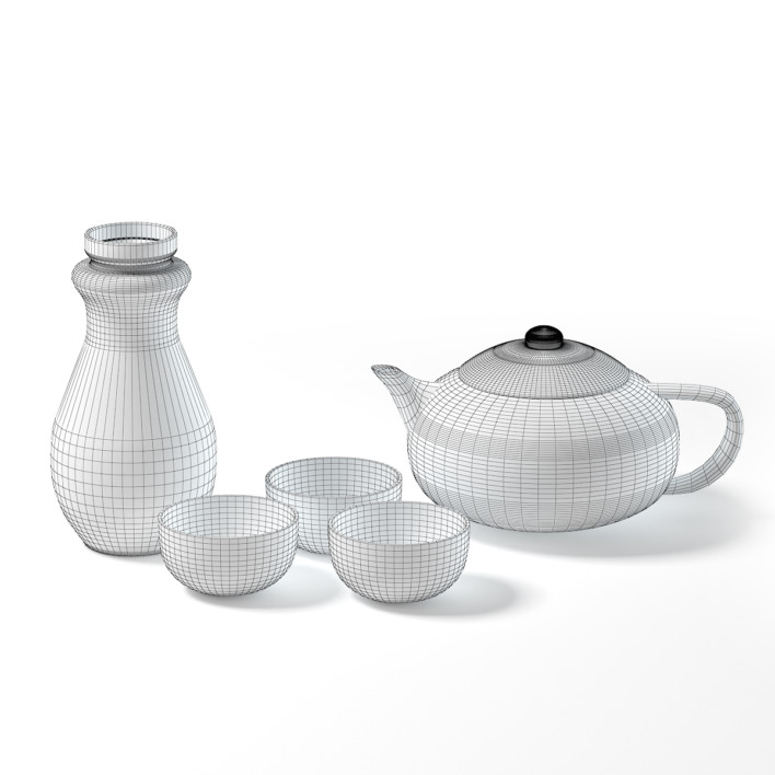 Black Tea Set 3D Model