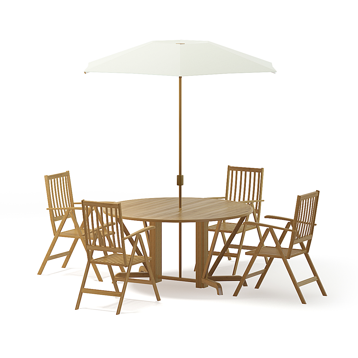 Garden Table Set 3D Model