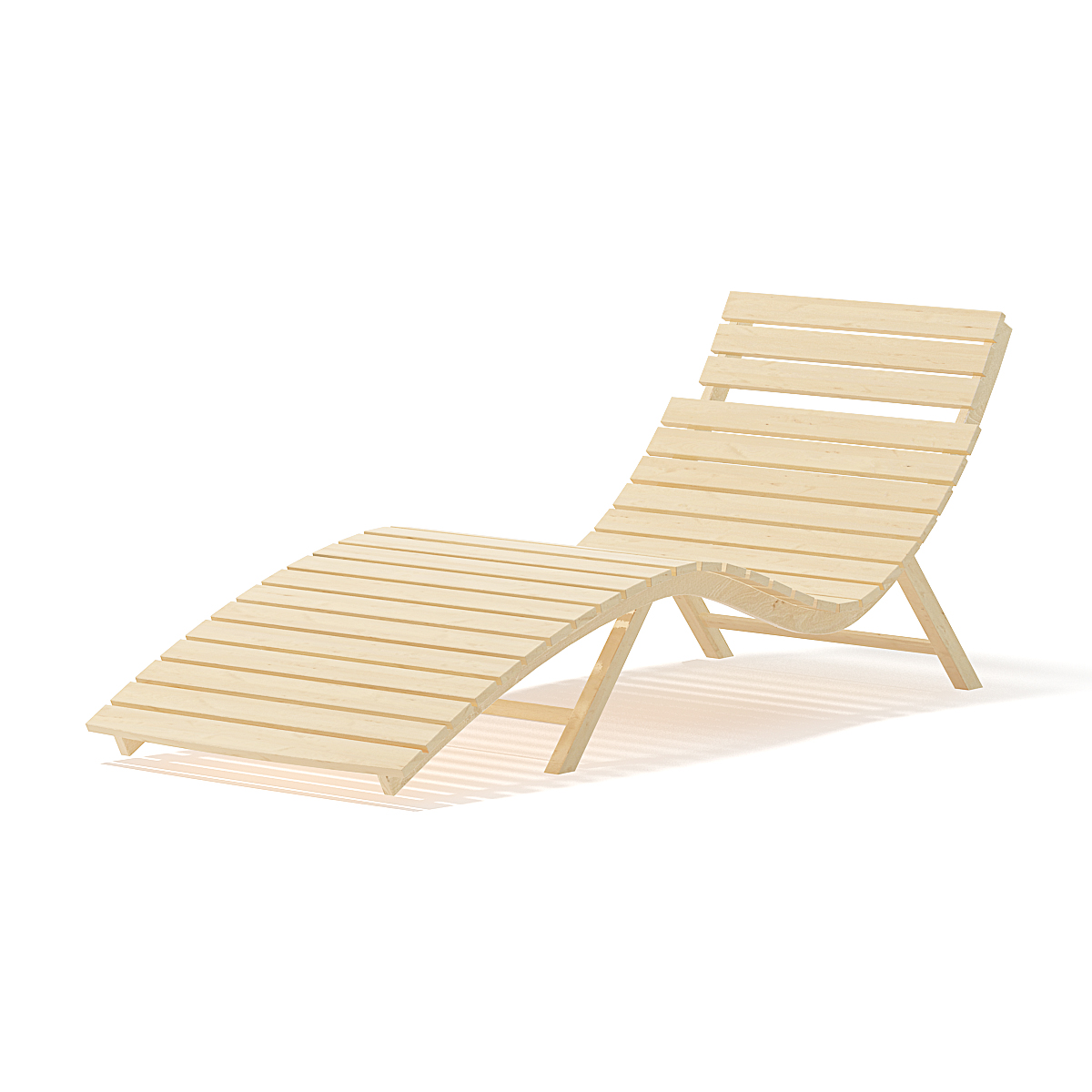 Wooden Deck Chair 10D Model