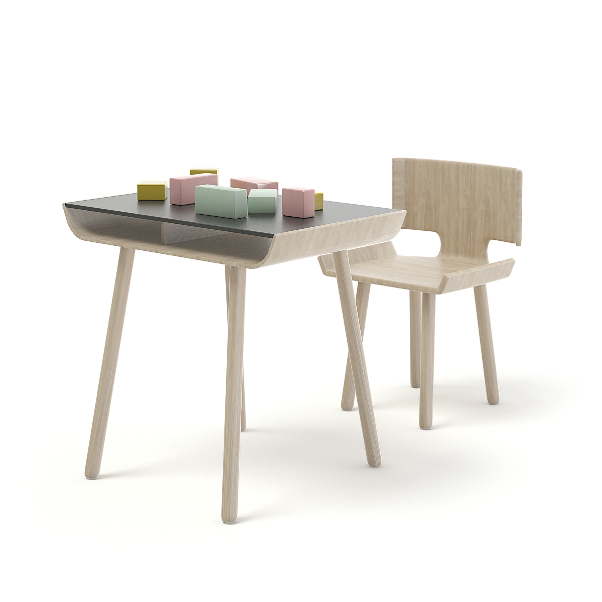Children Chair And Table With Blocks