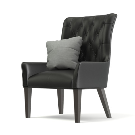 Black Leather Classic Armchair with Pillow 3D Model