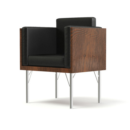 Black Leather Armchair with Wooden Sides 3D Model