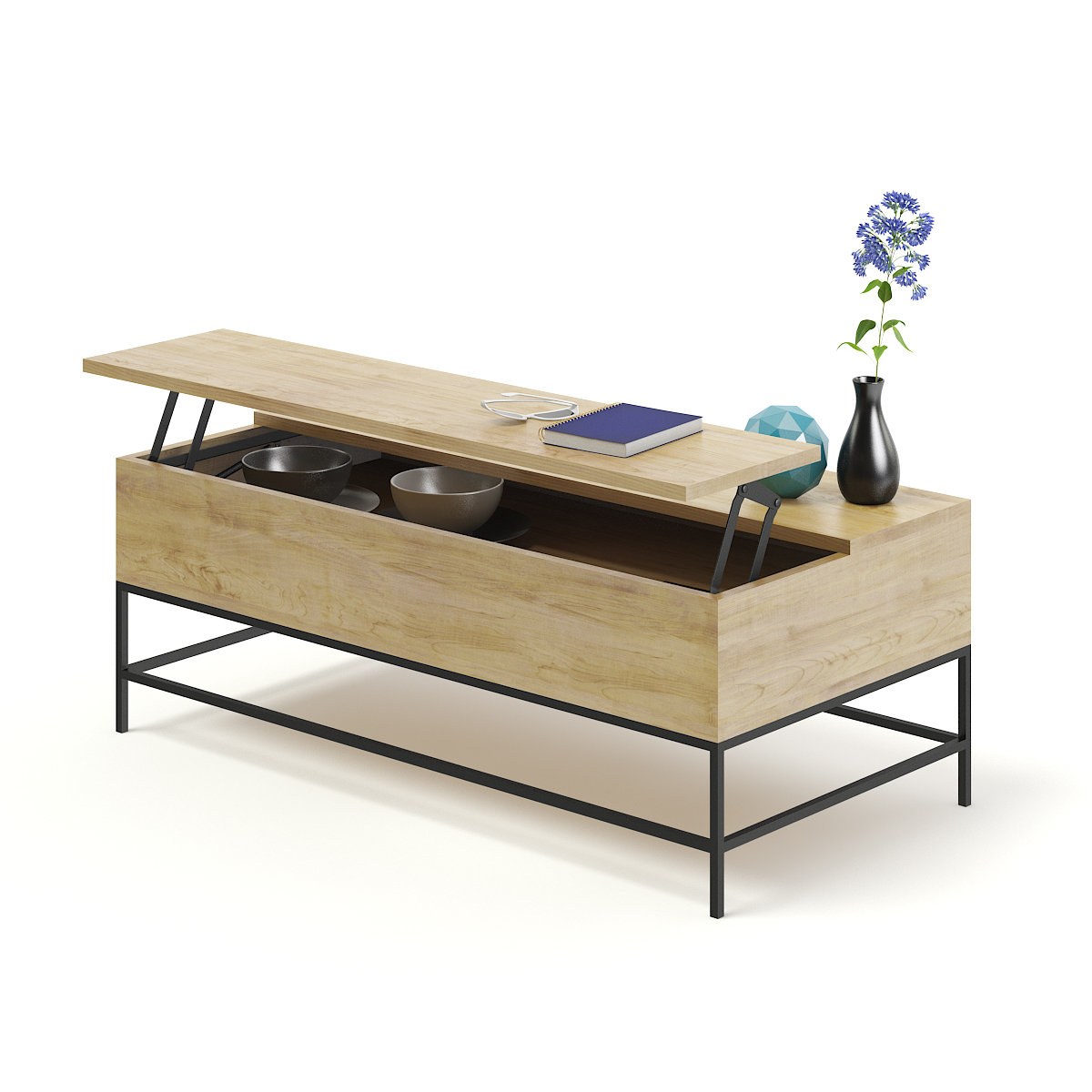 Opened Wooden Coffee Table Model