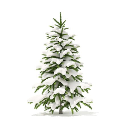 Fir Tree with Snow 3D Model 1.2m