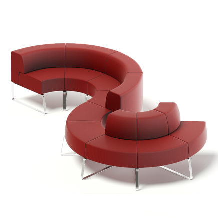 Red Fabric Waiting Sofa 3D Model