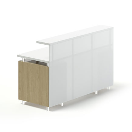 White and Wooden Reception Desk 3D Model