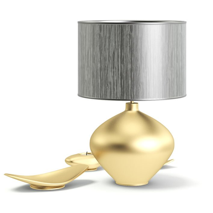 Golden Lamp with Decorations 3D Model