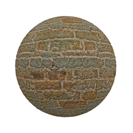 Orange Stone Brick Wall PBR Texture