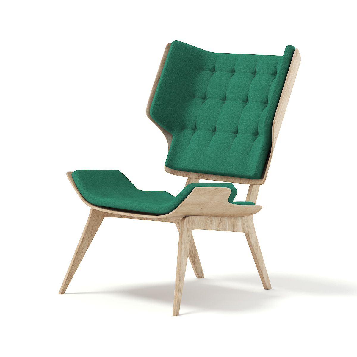 Wooden Chair with Green Seat 3D Model