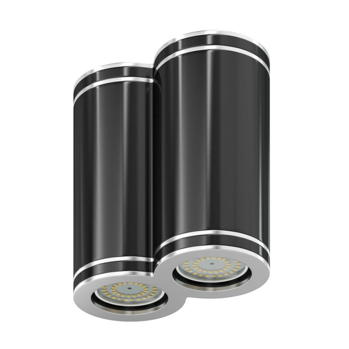 Double Black Cylindrical Light 3D Model