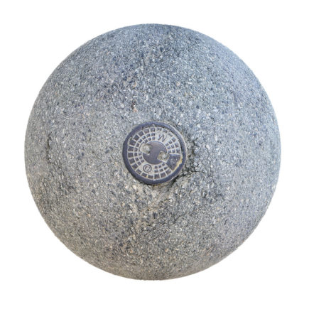 Grey Asphalt with Metal Plate PBR Texture
