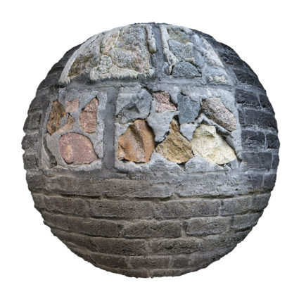 Damaged Brick Wall PBR Texture