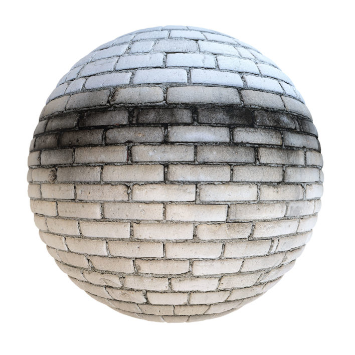 White Brick Wall with Dirt PBR Texture