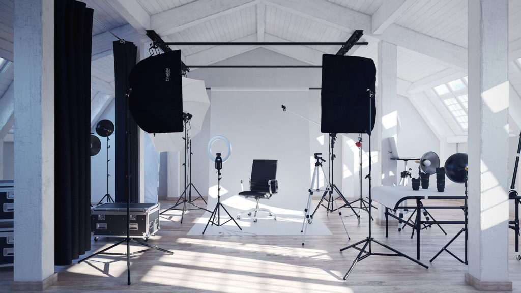 Photo studio attic with lots of photography equipment.